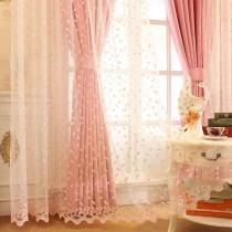 韩式田园公主粉色女孩卧室小清新绣花窗帘